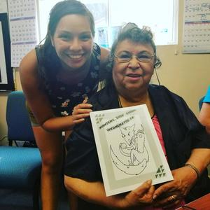 Sara Chase (left) at a Hupa language immersion camp with her language teacher, Verdena Parker, who is a member of the Hoopa Valley Tribe in northern California and one of the last fluent speakers of the Hupa language. (PHOTO COURTESY OF SARA CHASE)